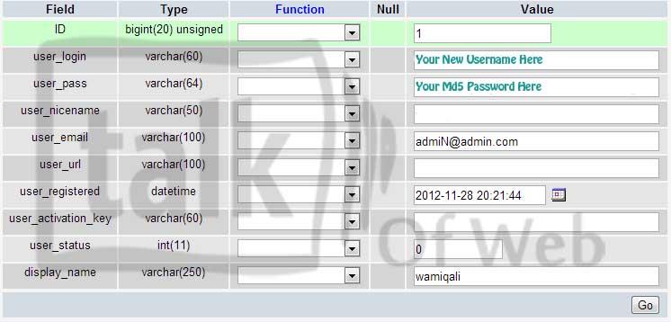 Edit users table in MySQL wordpress