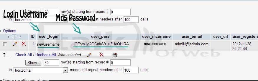 md5 password WordPress