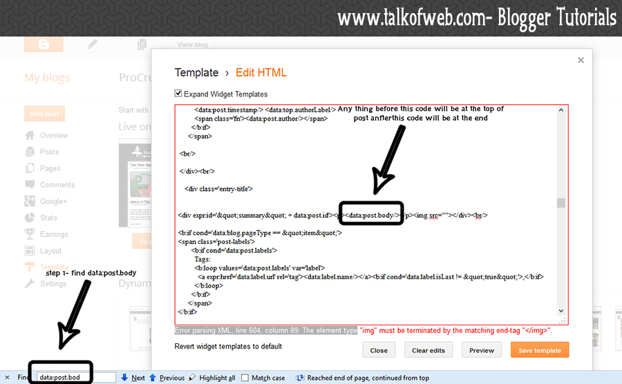 Insert adsense ads code in blogger posts for Template for blogger html code