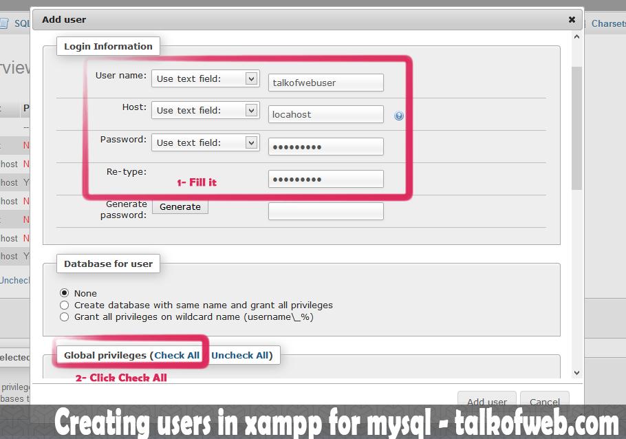 Creating user in xampp for mysql