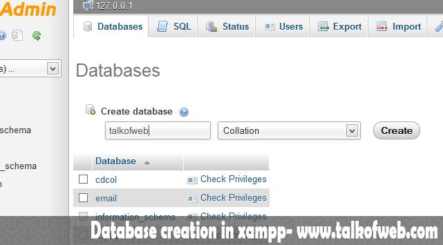 Database Creation in Xampp