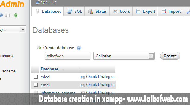 Database Creation in Xampp