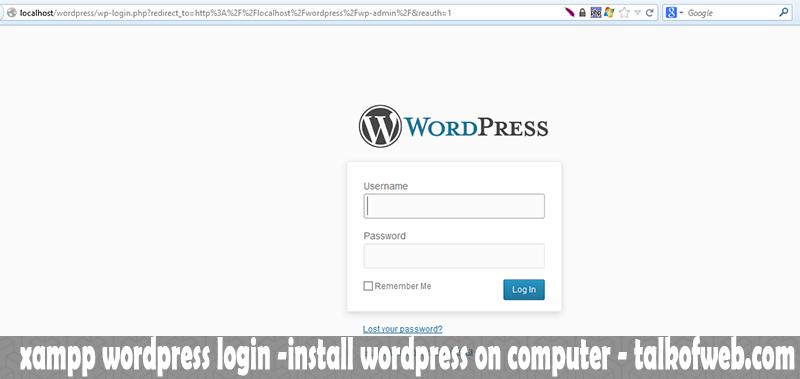 xampp wordpress login