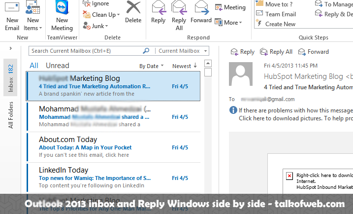 Outlook 2013 Inbox and Composing Screen