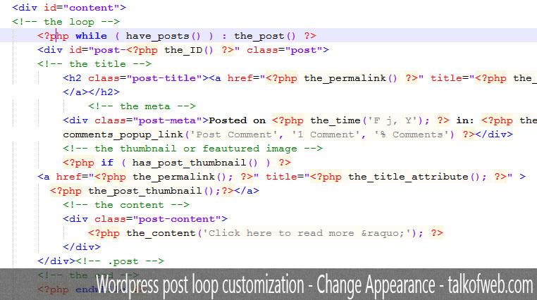 Wordpress post Loop in notepadd