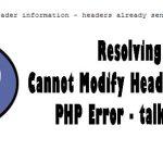 Cannot modify header information php error