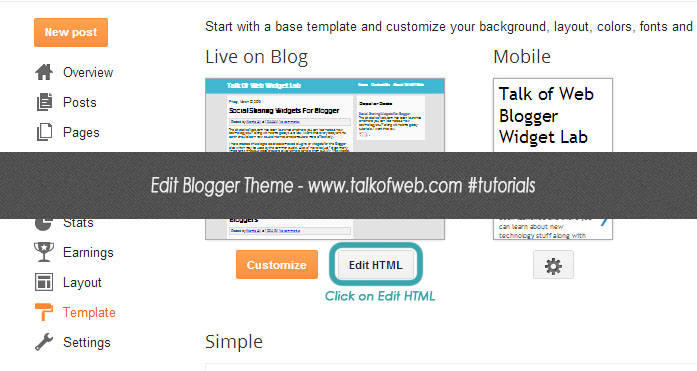 Edit HTML Blogger Template