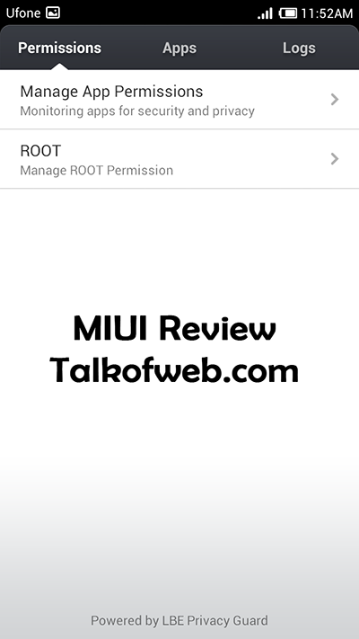 Manage Application Permission in miui