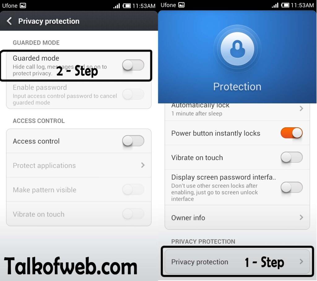 Per Application Security Center in MIUI