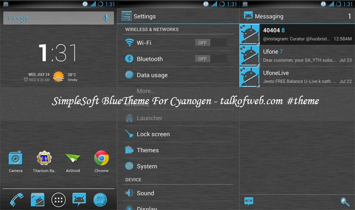 SimpleSoft Blue Theme For Cyanogenmod