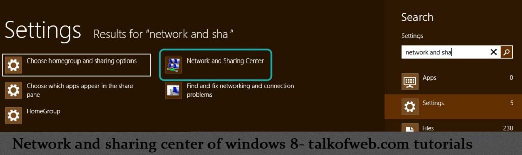 Windows 8 searching the network and sharing center