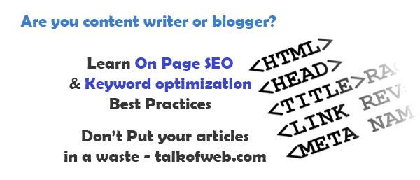 On Page SEO and Keyword Optimization