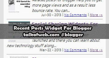 Recent Posts For Blogger