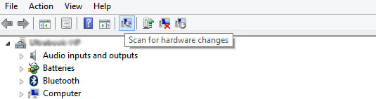 Scan for new devices in device manager
