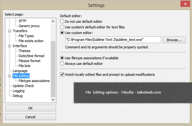 File Editing options in Filezilla