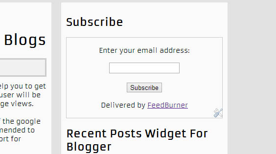 Subscription Form for Blogger