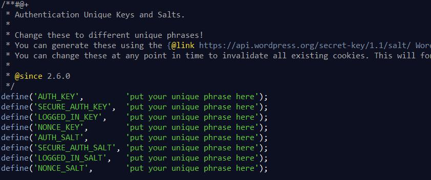 Salt Keys WordPress