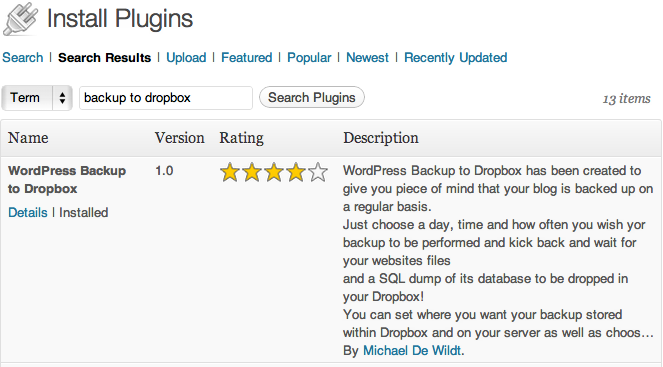 WordPress Backup for Dropbox