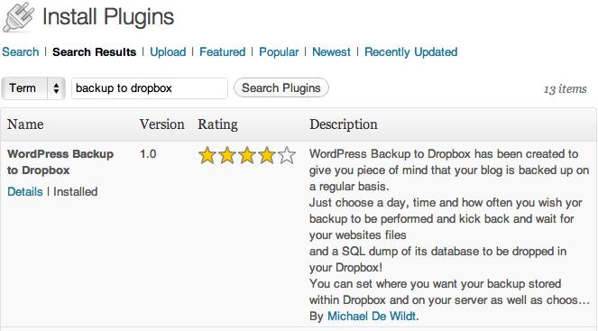 WordPress Backup for Dropbox