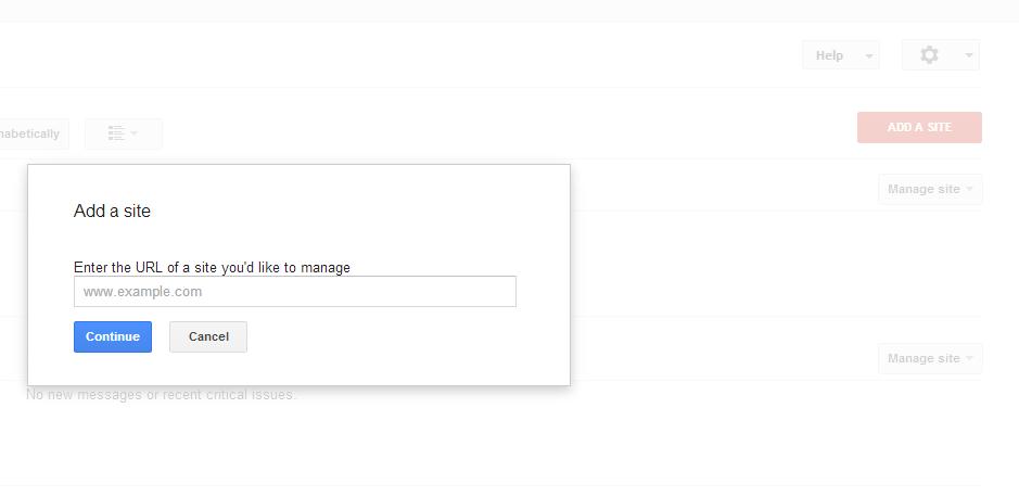2 Add a site Google Webmaster