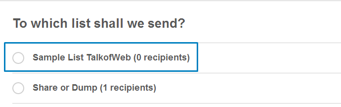4- Selecting the List For Sending Emails