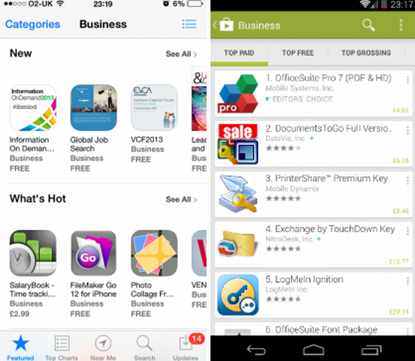 Google Play Store Vs. the iOS Store
