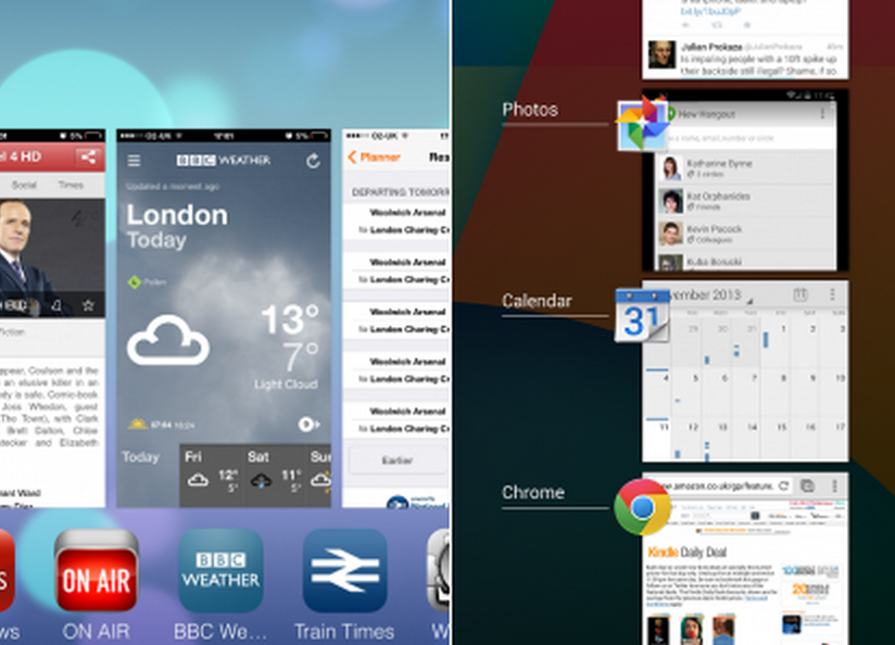 Multitasking android vs ios