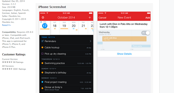 best apps calendar - Fantastical 2
