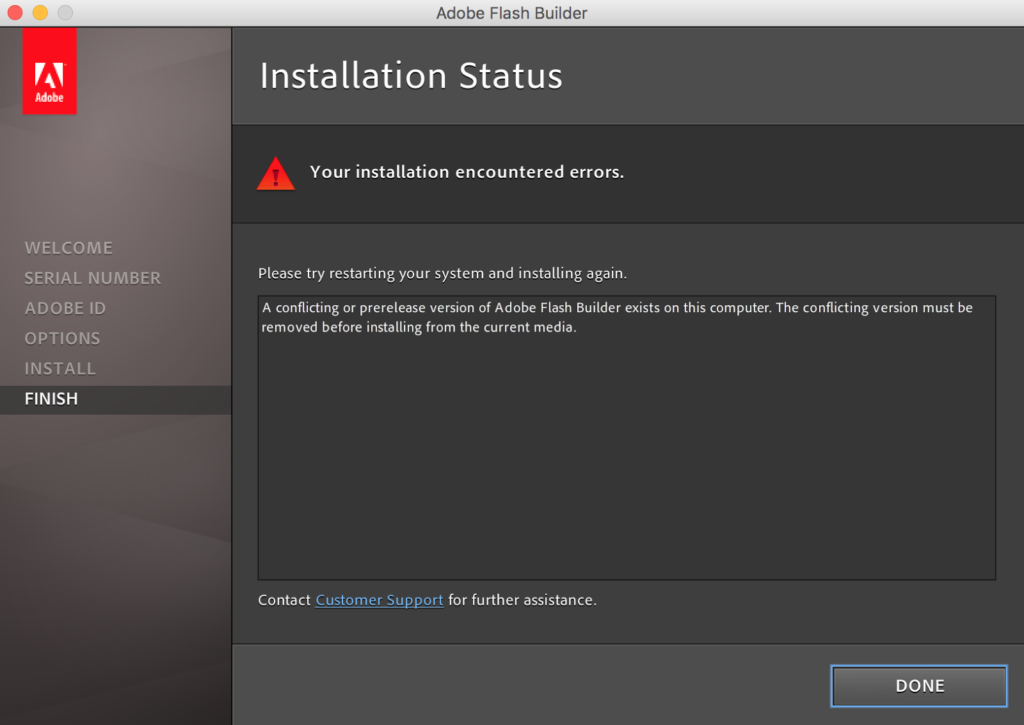 your installation encountered errors adobe products solution