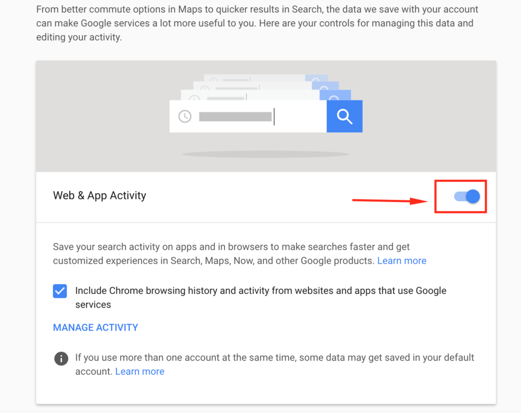 Delete searches & other activity