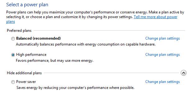 power options windows seven