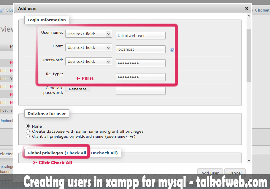 Creating user in xampp for mysql