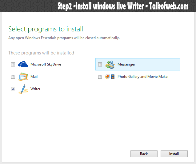 Installing Windows Live Writer step2