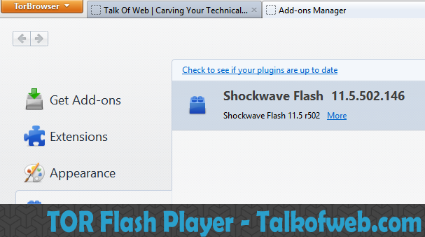 Enabled Adob Flash Player in TOR Browser