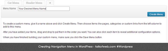 Creating Menu in WordPress