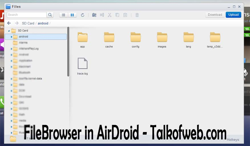 Fileupload in airdroid