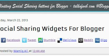 Floating Social Share Buttons For Blogger