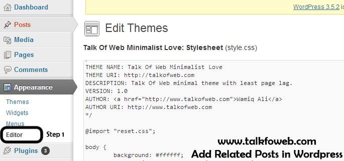 Style css editing in wordpress