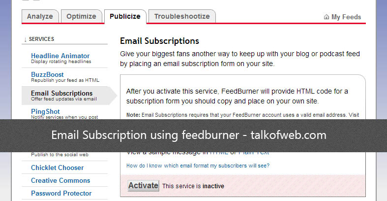 Email Subscription using feedburner