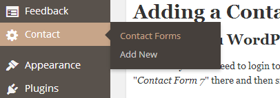 how to add contact us form in wordpress