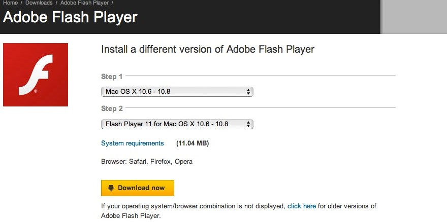Choose Flash Player for Mac OS X