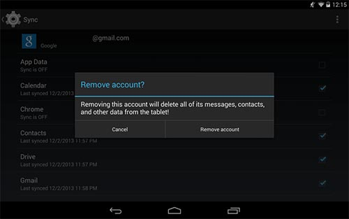 remove google account android